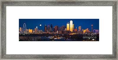 Dallas Skyline Panorama Framed Print by Inge Johnsson