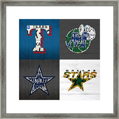 Dallas Sports Fan Recycled Vintage Texas License Plate Art Rangers Mavericks Cowboys Stars Framed Print
