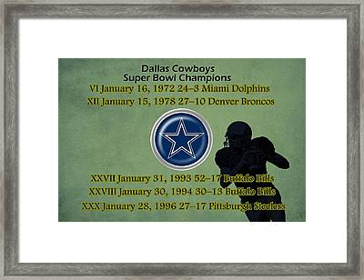 Dallas Texas Cowboys Super Bowl Wins Framed Print by Movie Poster Prints