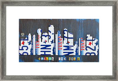 Dallas Texas Skyline License Plate Art By Design Turnpike Framed Print by Design Turnpike