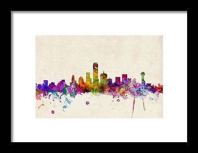 Dallas Skyline Framed Prints