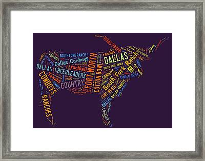 Dallas Text Art Framed Print by Linda Brown