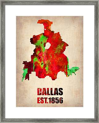 Dallas Watercolor Map Framed Print by Naxart Studio