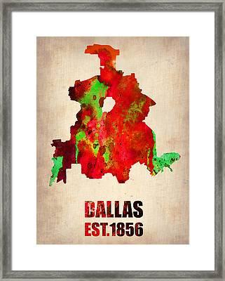 Dallas Watercolor Map Framed Print by Naxart Studio