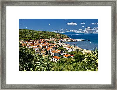 Dalmatian Island Of Susak Village And Harbor Framed Print