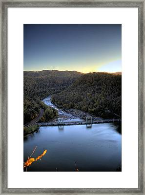 Framed Print featuring the photograph Dam Across The River by Jonny D