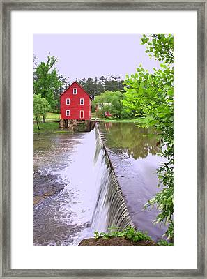 Dam At Starrs Mill Framed Print by Gordon Elwell