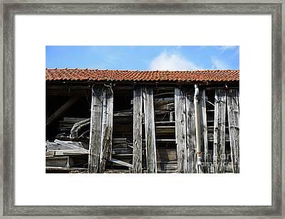 Damaged Old Wooden Building Framed Print