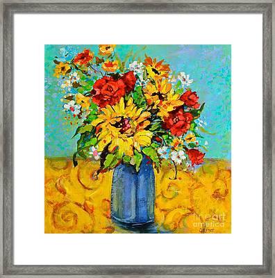 Damask Sunflowers Framed Print