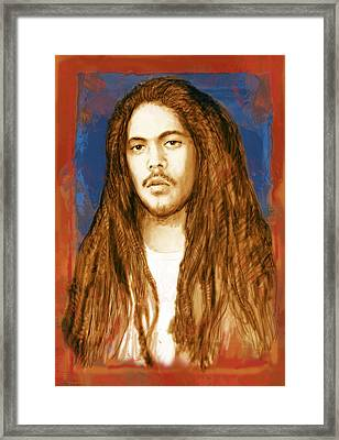 Damian Marley - Stylised Drawing Art Poster Framed Print by Kim Wang