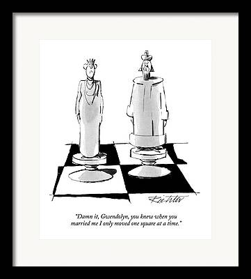 Chess Queen Drawings Framed Prints