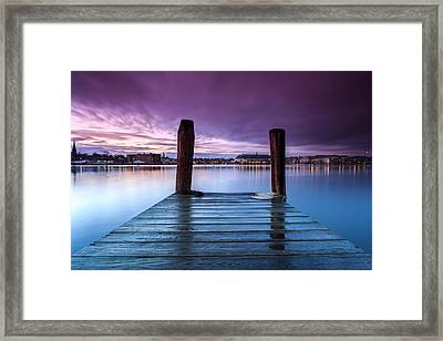 Damp Sunset Framed Print