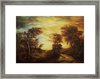 Dan Scurtu - Forest At Sunset Framed Print by Dan Scurtu