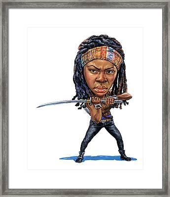 Danai Gurira As Michonne Framed Print by Art