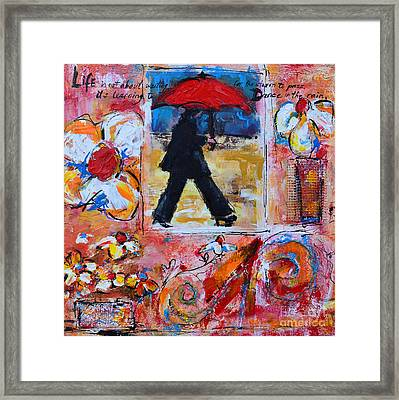 Dance In The Rain Under A Red Umbrella Framed Print