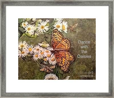 Framed Print featuring the painting Dance With The Daisies With An Inspirational Quote by Kimberlee Baxter