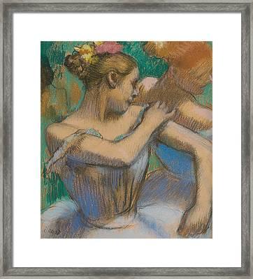 Dancer Adjusting Her Shoulder Framed Print by Edgar Degas