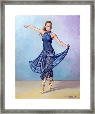Dancer In Dark Blue Framed Print by Paul Krapf