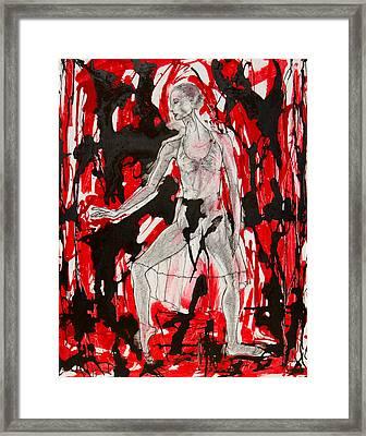 Dancer In Red And Black Framed Print by Brenda Clews