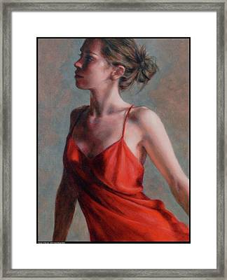 Dancer In Red Slip Framed Print by Diana Moses Botkin
