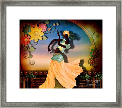 Dancer Of The Balcony Framed Print by Bedros Awak