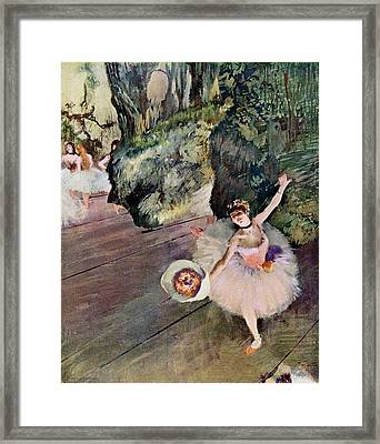 Dancer With Bouquet Of Flowers Framed Print by Edgar Degas