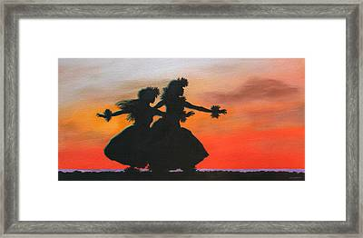 Dancers At Sunset Framed Print by Wahine Art