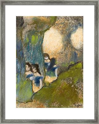 Dancers Behind The Scenes Framed Print by Edgar Degas