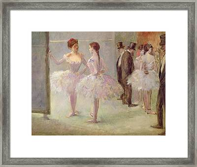 Dancers In The Wings At The Opera Framed Print by Jean Louis Forain