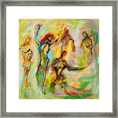 Framed Print featuring the painting Dancers by Mary Schiros