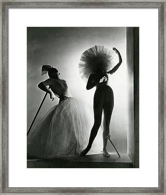 Dancers Posing In Costumes From Salvador Dali's Framed Print by Horst P. Horst