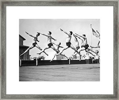 Dancers Practice On A Rooftop. Framed Print