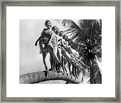 Dancers Practice On Palm Tree Framed Print by Underwood Archives