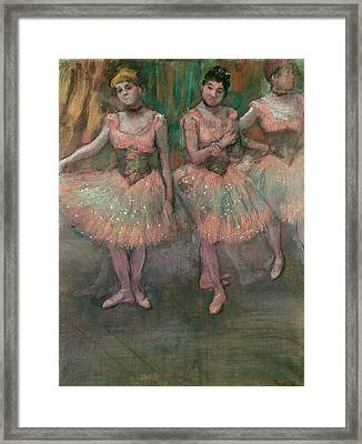 Dancers Wearing Salmon Colored Skirts Framed Print by Edgar Degas
