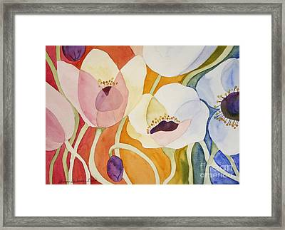 Framed Print featuring the painting Dancing Anemones by Shirin Shahram Badie