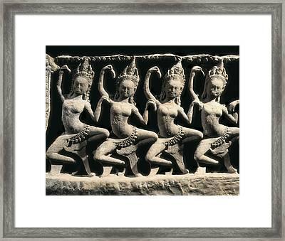 Dancing Apsaras. 13th C. Khmer Art Framed Print by Everett