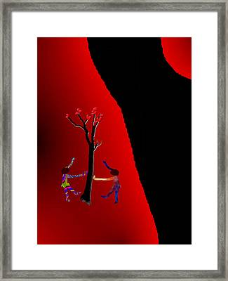 Framed Print featuring the digital art Dancing Around A Tree by Asok Mukhopadhyay