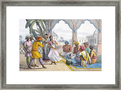 Dancing Bayaderes, 1827-35 Framed Print by M.E. Burnouf