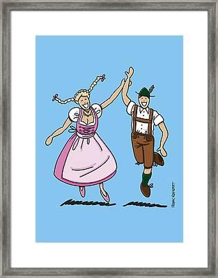 Dancing Couple With Dirndl And Lederhosen Framed Print by Frank Ramspott