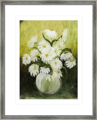 Dancing Daisies Framed Print by Nancy Edwards