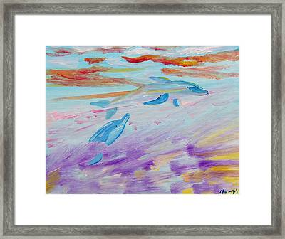 Framed Print featuring the painting Dancing Dolphins by Meryl Goudey
