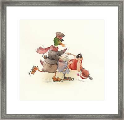 Dancing Ducks 03 Framed Print by Kestutis Kasparavicius