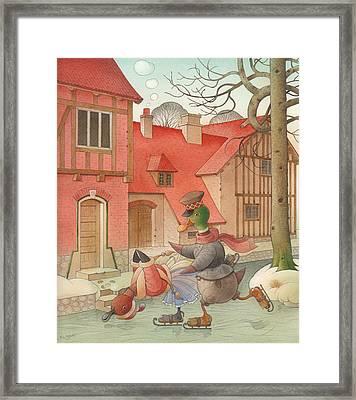 Dancing Ducks Framed Print by Kestutis Kasparavicius