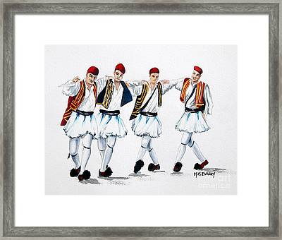 Dancing Evzones Framed Print by Maria Barry