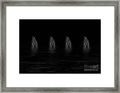 Dancing Fish At Night 4 Framed Print by Evgeniy Lankin