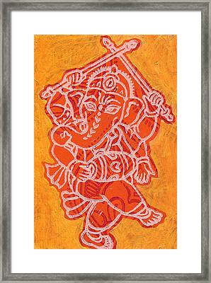 Dancing Ganesha Orange Framed Print by Jennifer Mazzucco