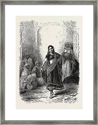 Dancing Girl Of Mewat Framed Print by English School