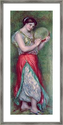 Dancing Girl With Tambourine Framed Print by Pierre Auguste Renoir