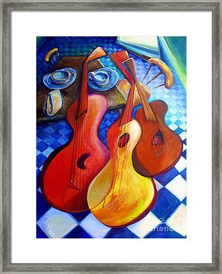 Dancing Guitars Framed Print by Frederick  Luff