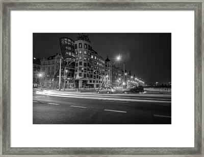Dancing House  B-w Framed Print by Sergey Simanovsky